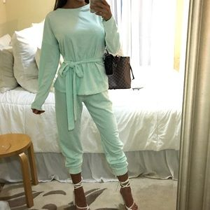 Mint green sweat pant jogger bow sweater set S